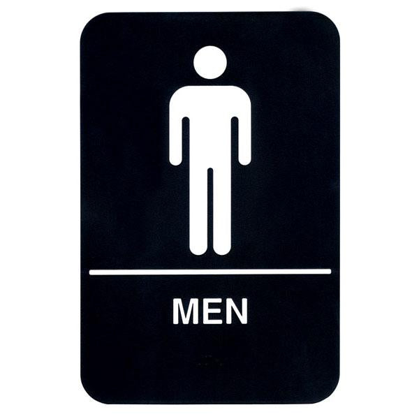 "Men - Black on White Sign - 6""x9"""