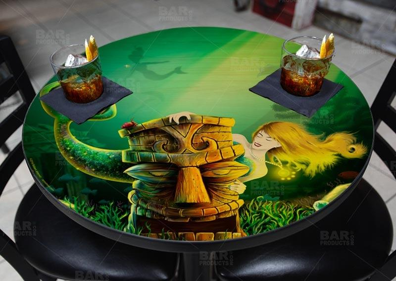 Mermaid Encounter Round Wooden Table Top - Two Sizes Available