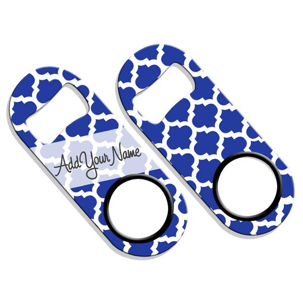 ADD YOUR NAME Mini Bottle Opener – Moroccan Patterns- Blue