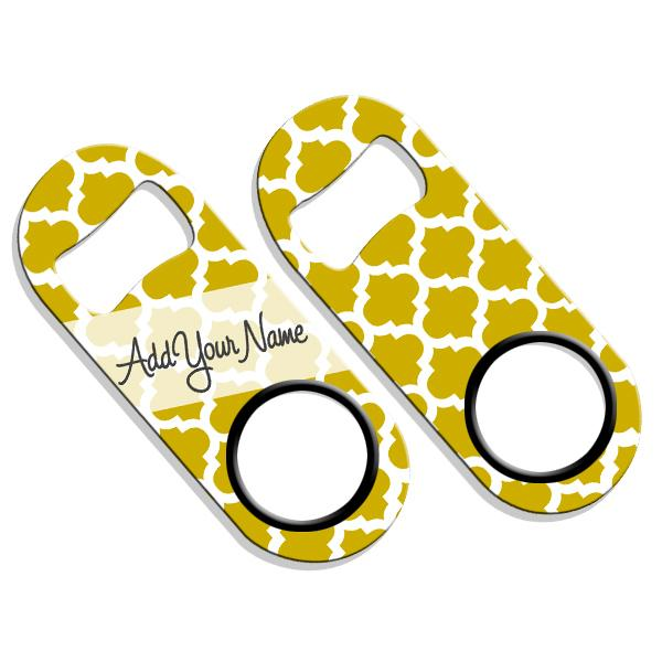ADD YOUR NAME Mini Bottle Opener – Moroccan Patterns- Gold