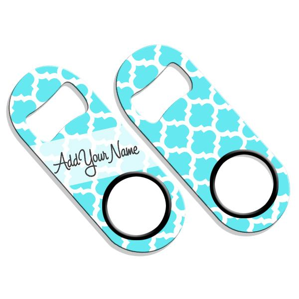 ADD YOUR NAME Mini Bottle Opener – Moroccan Patterns- Light Blue