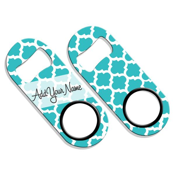 ADD YOUR NAME Mini Bottle Opener – Moroccan Patterns- Teal