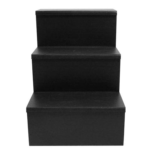 MixMaster™ 3 Tier Incremental Wooden Liquor Bottle Shelf Displays - BLACK