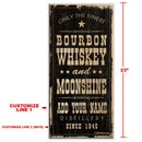 "CUSTOMIZABLE Large Vintage Wooden Bar Sign - Bourbon Whiskey & Moonshine - 11 3/4"" x 23 3/4"""