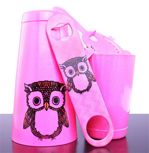 """Mr. Owl"" Neon Pink Glitter Kolorcoat™ Bar Tools"