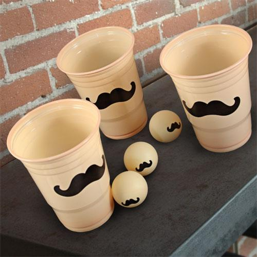 Beer Pong - 24 Pack Mustache Cups and 3 Mustache Balls