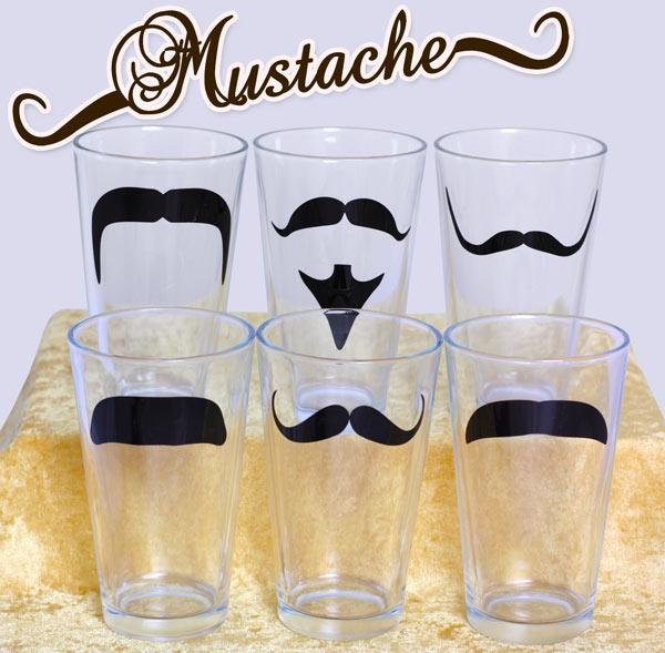Mustache Pint Glasses - Set of 6