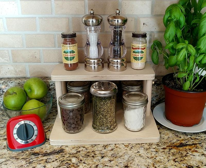 "Counter Caddies™ - NATURAL - 12"" STRAIGHT Shelf - Culinary / Spice Rack"