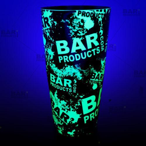 Neon Green BPC logo Cocktail shaker glows under a black light!