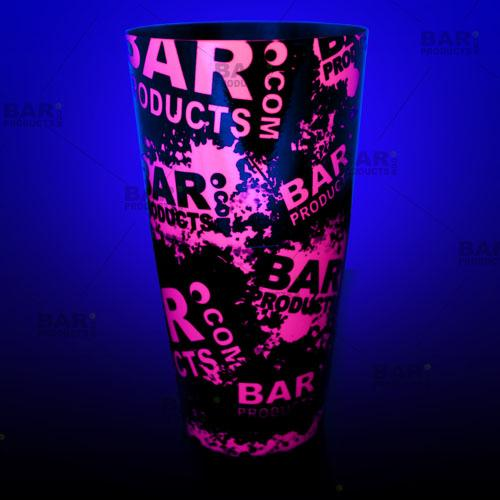 Neon Pink BPC logo Cocktail shaker glows under a black light!