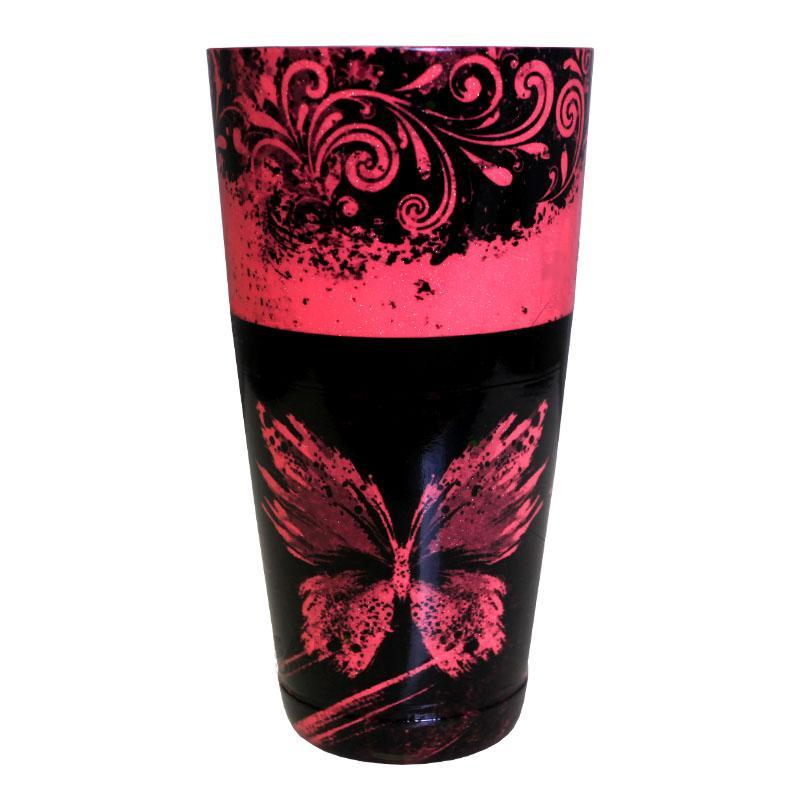 Cocktail Shaker Tin - Printed Designer Series - 28oz weighted - NEON PINK Butterfly
