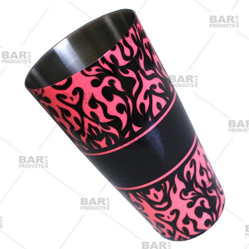Neon Pink Swirls Cocktail Shaker Tin
