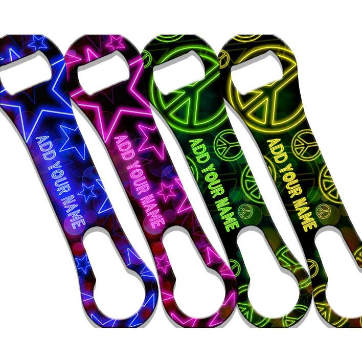 neon peace signs and stars v-rod bottle openers