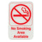 "No Smoking Area Available- Red on White Sign - 6""x9"""
