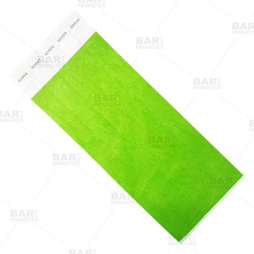 Numbered Wristbands - Neon Green - Box of 500