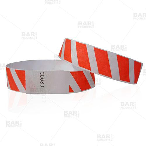 Red Stripe Numbered Wristbands