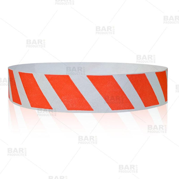 Paper Wristbands - Red Striped - Box of 500