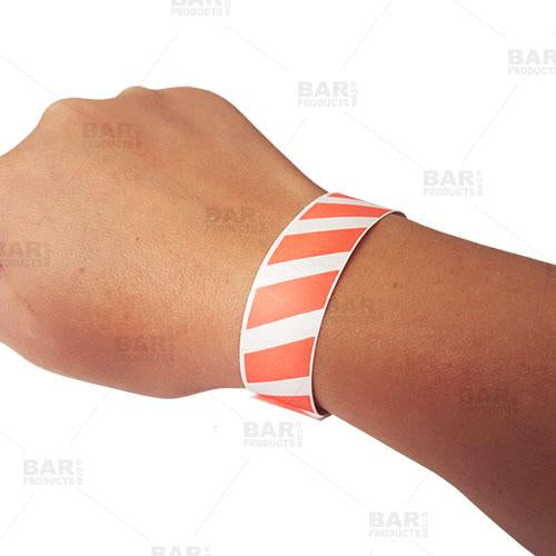 Numbered Wristbands - Red Striped - Box of 500