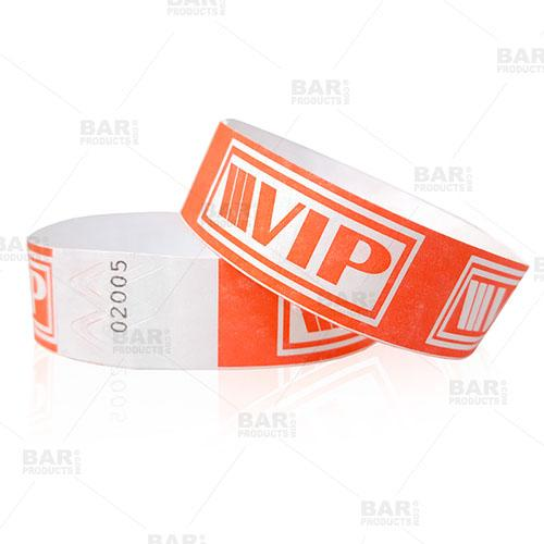 Numbered Wristbands - NEON Red / White VIP