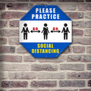 Octagon Kolorcoat™ Metal Sign - Social Distancing
