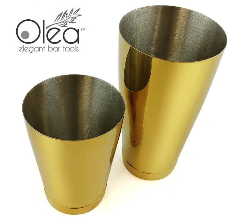 Olea™ Cocktail Shaker Set - Gold Plated - 2 Piece (28 and 16 ounce Tins)