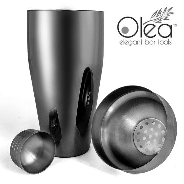 Olea™ 3-Piece Cocktail Shaker Deluxe - Gunmetal Plated - 24 ounce