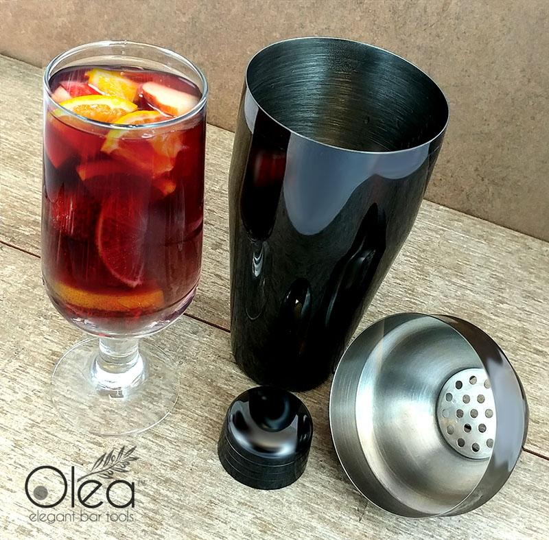 Olea™ Gunmetal Plated 3-Piece Cocktail Shaker Deluxe - 24 ounce