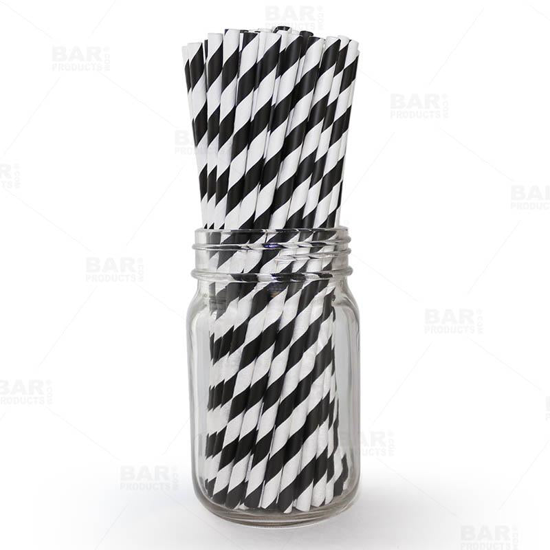 "BarConic® ""Eco-Friendly"" Paper Straws - 7 3/4"" Black & White Stripe - Packs of 100"