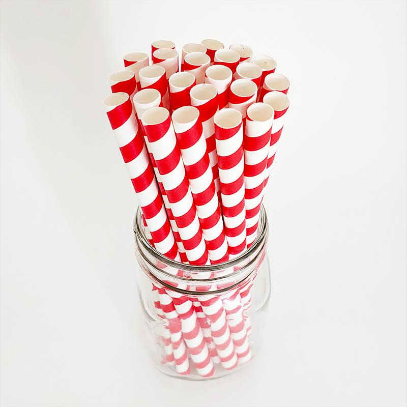 "BarConic® ""Eco-Friendly"" Jumbo Paper Straws - 7 3/4"" Red Stripe - 100 pack"