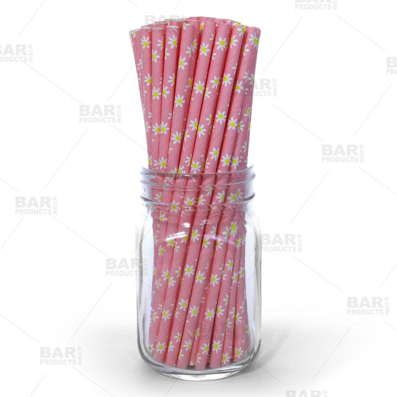 BarConic® Eco-Friendly Paper Straws - Daisy - 100 pack