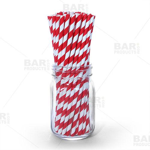 BarConic® Eco-Friendly Paper Straws - Red Stripe - 100 pack