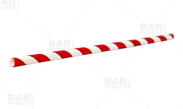 BarConic® Red Stripe Paper Straws - 100 pack
