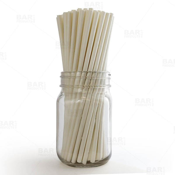 "BarConic® ""Eco-Friendly"" Paper Straws - 7 3/4"" Solid White - Packs of 100"