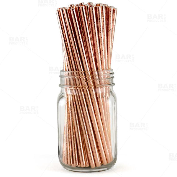 BarConic® Eco-Friendly Paper Straws - Copper Metallic - Pack of 100