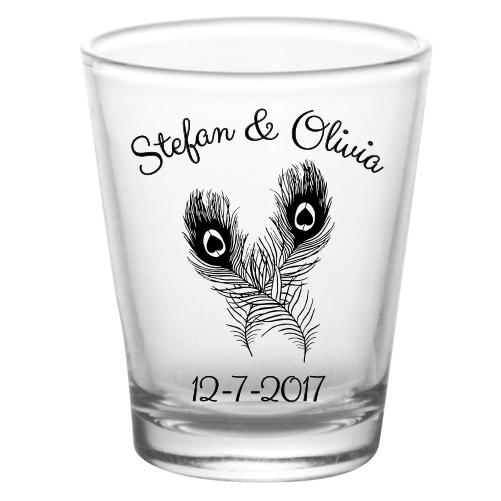 CUSTOMIZABLE - 1.75oz Clear Shot Glass - Peacock Feathers Design
