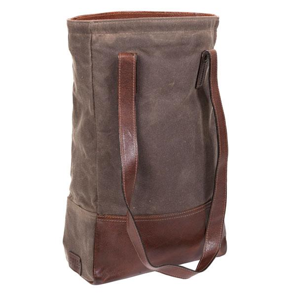 Petty Bottle Tote in Waxwear Rangertan & Titan Milled Brown Leather