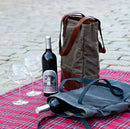 Petty Bottle Tote in Waxwear Rangertan & Titan Milled Brown Leather- Picnic