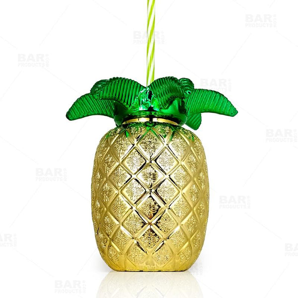 BarConic® Gold Pineapple Cup w/Lid and Straw - 24oz