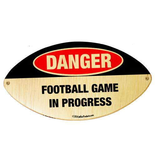 Danger - Football Shaped Wall Plaque