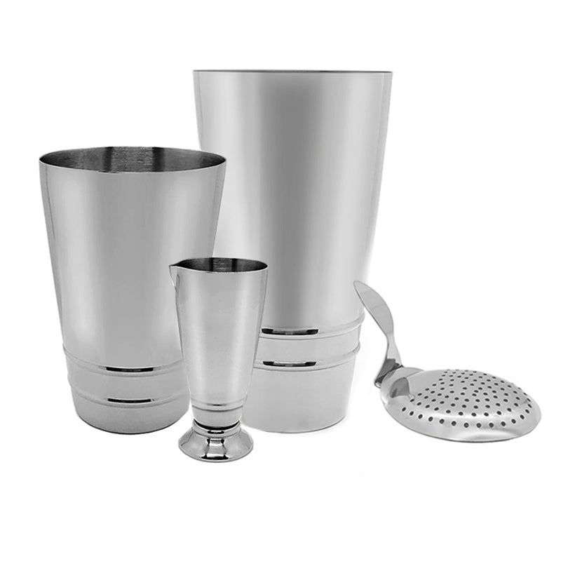 BarConic Stainless Steel Shaker 4 piece Set with Ring Design
