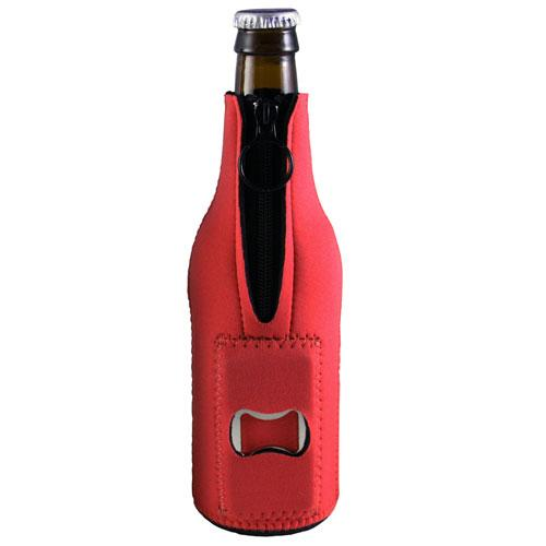 Red Neoprene Bottle Cooler w/ Bottle Opener