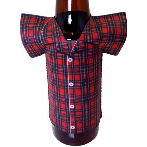 T-Shirt Style Bottle Cooler - Pajamas - Red Plaid