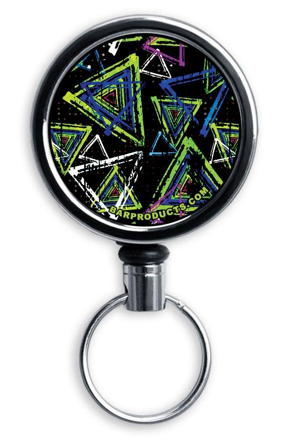 Mirrored Chrome Retractable Reel - Abstract Triangles
