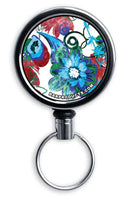 Mirrored Chrome Retractable Reel - Grungy Floral
