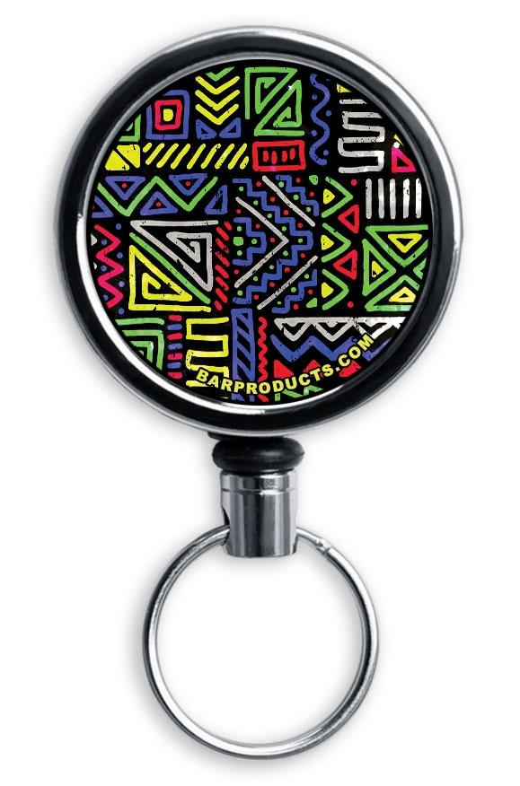 Mirrored Chrome Retractable Reel - Grungy Line Elements