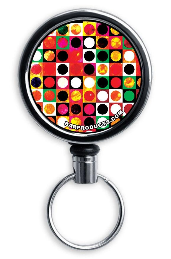 Mirrored Chrome Retractable Reel - Grungy Retro Dots