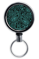 CUSTOMIZABLE Mini Bottle Opener with Retractable Reel - Teal Paisley