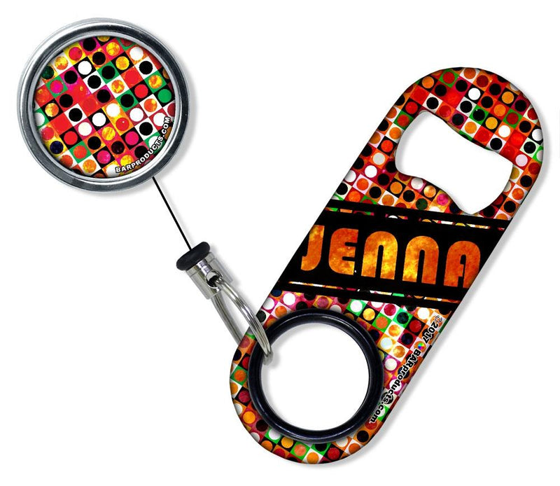 Add Your Name - Mini Bottle Opener with Retractable Reel - Grungy Retro Dots
