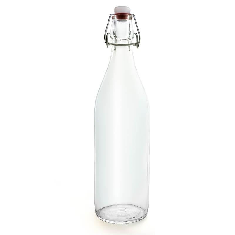 Swing Top Glass Bottle - Clear Round - 1 Liter or 17 ounce