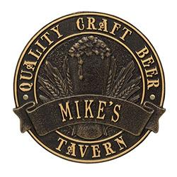 "CUSTOMIZABLE Cast Aluminum Plaque - ""Round"" Quality Craft Beer"